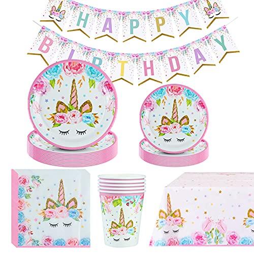 Amycute 66 pcs 16 Invitados Vajilla de Unicornio, Vasos, Platos, Servilletas, Cubiertos Vajilla de Cumpleaños Infantil para Unicornio Fiesta Baby Shower