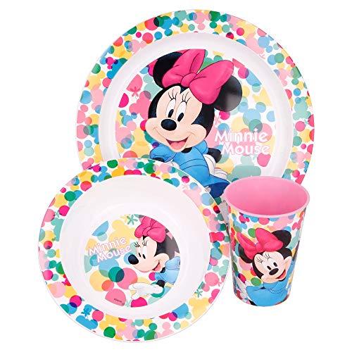 MINNIE MOUSE | Set Vajilla Infantil - Apta para microondas | Servicio de Mesa libre de BPA para niños y bebés - 3 Piezas: Vaso, Plato y Cuenco