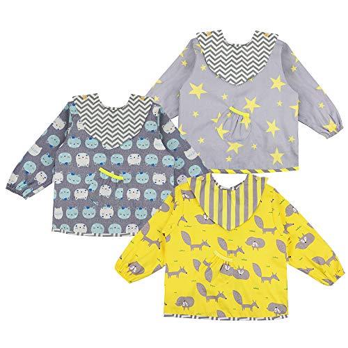 Lictin 3 Pcs Baberos Bebés con Mangas Impermeable- Baberos de Manga Larga de Algodón con Escote Ajustable, Tela Impermeable Interior, Cómodo y Transpirable para 2-5 años