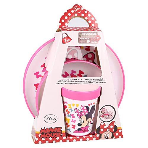 MINNIE MOUSE - DISNEY |Vajilla infantil bicolor- Set de 3 piezas: Plato, cuenco y vaso para niños - Vajilla Bebé Antideslizante con base de silicona - Libre de BPA