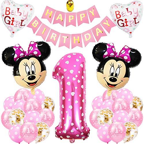 Decoraciones de Cumpleaños de Mickey, BESTZY 1er Cumpleaños Bebe Rosado Globos Decoraciones de Fiesta Temática Rosado de Mickey Globos de Confeti de Latex Niña Ballon Party