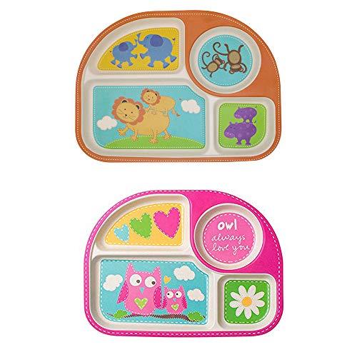 EULANT Platos Compartimento para Bebé, 2pcs Cuberteria Infantiles Bambu, Set de Vajilla Infantil Seguro Degradables Materiales Sin BPA, Búho + León