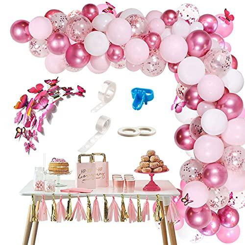 Kit de Guirnaldas con Globos Rosa, 117 Piezas Globos De Cumpleaños Niña con Mariposas Decoración, Globos Rosas y Blancos Arcos de Globos para Decoracion Cumpleaños Boda Baby Shower