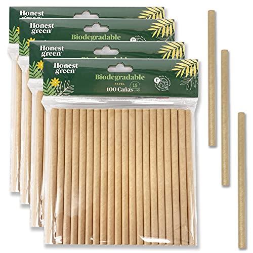 Eco Natural 400 Pajitas de Papel Desechables 15 cm x 7,5 mm, 100% Ecológico, Reciclable y Biodegradable, Libre de BPA, Color Marrón