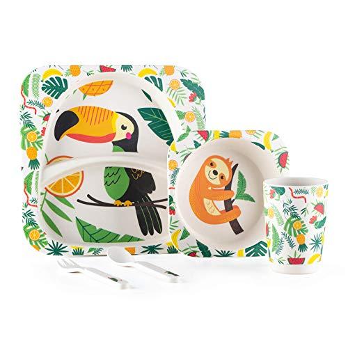 Set vajilla Infantil de bambú sin bpa 5 Piezas I Servicio de Mesa cubertería para niños Tazón Vaso de Beber Plato para niños I Reciclaje de Material Natural