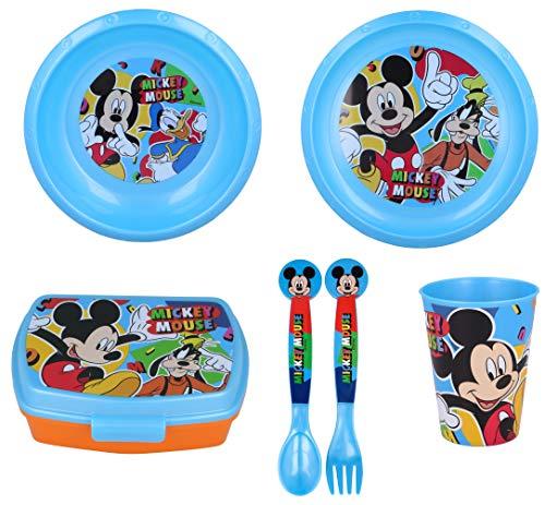 Vajilla infantil de 6 piezas de Mickey Mouse para niños y niñas. Contiene plato, vaso, tenedor, cuchillo, cuenco y sandwichera (Mickey Mouse - 6pcs)