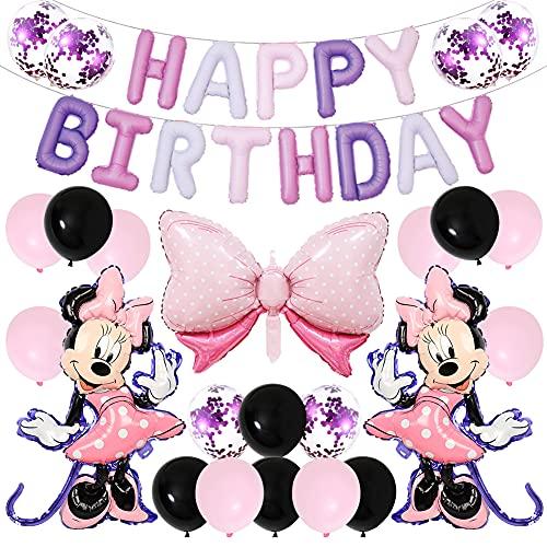 BESTZY Decoración de Fiesta de Cumpleaños de Minnie, 24PCS Minnie Themed Party Decorations Minnie Globos, Decoraciones de Fiesta Temática Rosa de Minnie Globos de Confeti de Latex Niña