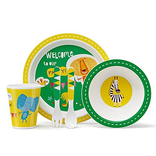 GLCS GLAUCUS Vajilla para niños 5 Piezas Set, Plato, Cucharas, Bol, Tenedor, Taza, Cubertería Sin BPA, Ecológica Reciclaje, lavar para lavavajillas - León