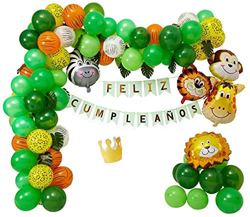 LaulaStyle Decoración Globos Cumpleaños En Español para niños. Set de Fiesta Selva Safari para Bebes.