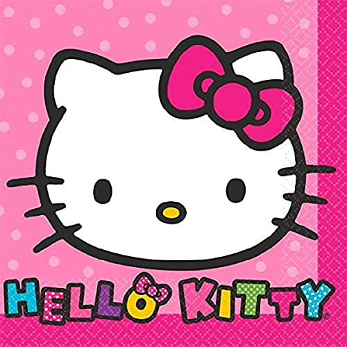 Adorable Hello Kitty Rainbow bebidas Servilletas Fiesta de cumpleaños vajilla (16unidades), color rosa, 5.5'x 5.5.'