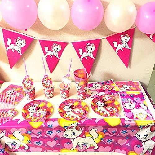 OUDE Marie Gato temático Globo Vajilla Copa Plato de Papel Bandera bebé Rosada de la Boda Fiesta de cumpleaños del Gato niñas Decoraciones de la Ducha Suministros