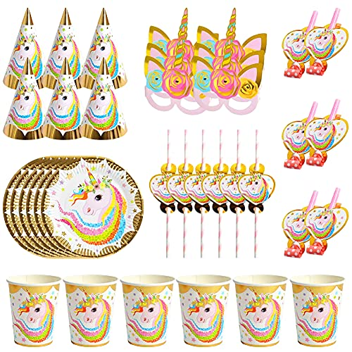 Plato de papel unicornio, Vajilla cumpleaños unicornio, 36 Pcs Juego de Cubiertos de Unicornio, Accesorios de fiesta de unicornio,Fiesta set niños cumpleaños unicornio