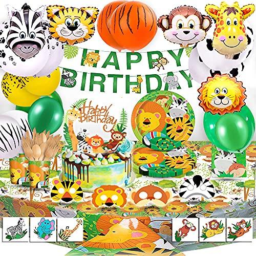 Bea's Party Decoracion Fiesta cumpleaños niño Safari Party Safari Decoracion cumpleaños Selva Safari Globos Animales de la Selva vajilla Mantel servilletas Pancarta Safari Bosque Animal