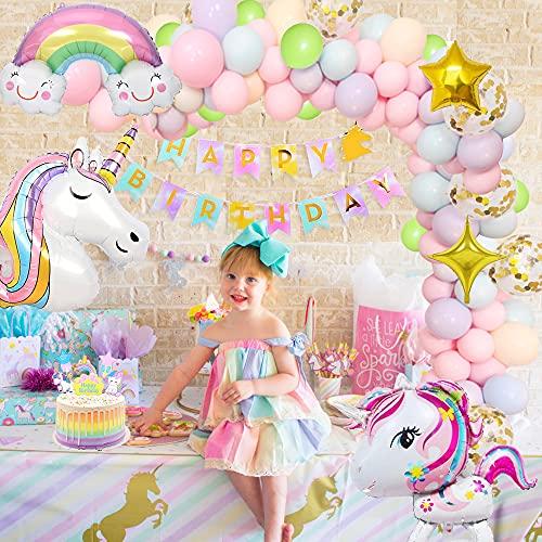 Unicornio Decoración Cumpleaños Niña con 3D Globos de Unicornio Cumpleaños Estandarte Unicornio Manteles Globo Arco Iris Globo Estrella para Fiesta de Unicornio para Niñas