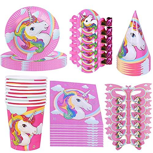 Hilloly 52 Pcs Decoraciones de Fiesta,Juego De Vajilla Desechable,Unicornio Suministros Para Fiestas,Decoraciones Adecuadas Para Fiestas de Cumpleaños para Niños,Duchas para Bebés