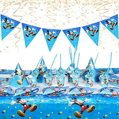 Juego de vajilla para fiestas,88pcs Set de Fiesta de cumpleaños de Mickey,Vajilla Mickey Platos de Servilletas y Manteles,Suministros de Fiesta con Temática de Mickey Mouse para Niños Baby Shower