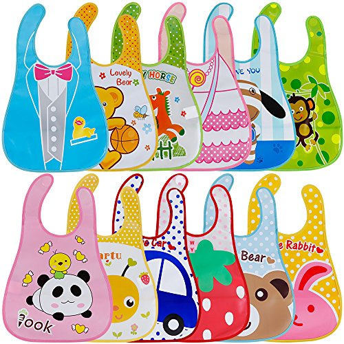 Lictin 12 pcs Baberos de Bebé Impermeables-Baberos Bebe EVA Impermeable con Escote Ajustable Baberos con Dibujos Animados para Bebes Unisex 1-5 Años