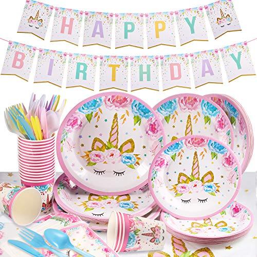 Yosemy Vajilla de Unicornio Cumpleaños 114pcs/16 Set Accesorio de Decoración de Fiesta de Cumpleaños Utensilios para Celebración Pancarta, Platos, Pajitas, Servilletas y Mantel Resistente–Rosa