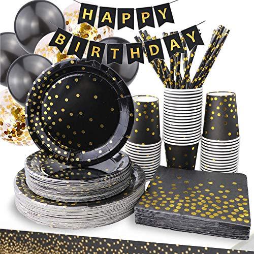 Vajilla desechable (131 pcs) para fiestas de cartón reciclable. Vasos, platos, servilletas, globos y pajitas desechables para fiestas de cumpleaños, navidad y eventos. Vajilla de cartón oro negro